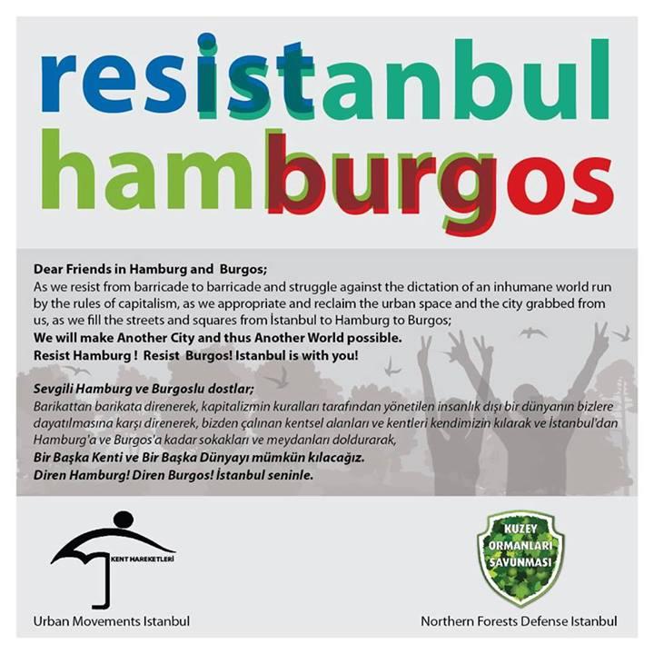 Kuzey Ormanları Savunması ve Kent Hareketleri'nden, Hamburg ve Burgos'ta yaşamı savunmak için direnen kardeşlerine..