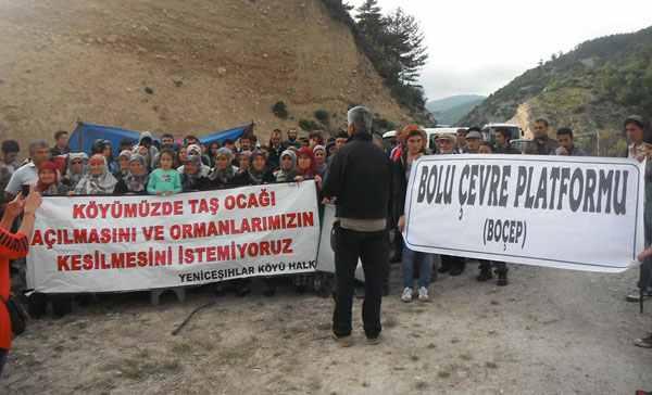 """Bolu'da köylü direnişi: """"Taş ocağına geçit vermeyeceğiz!"""""""