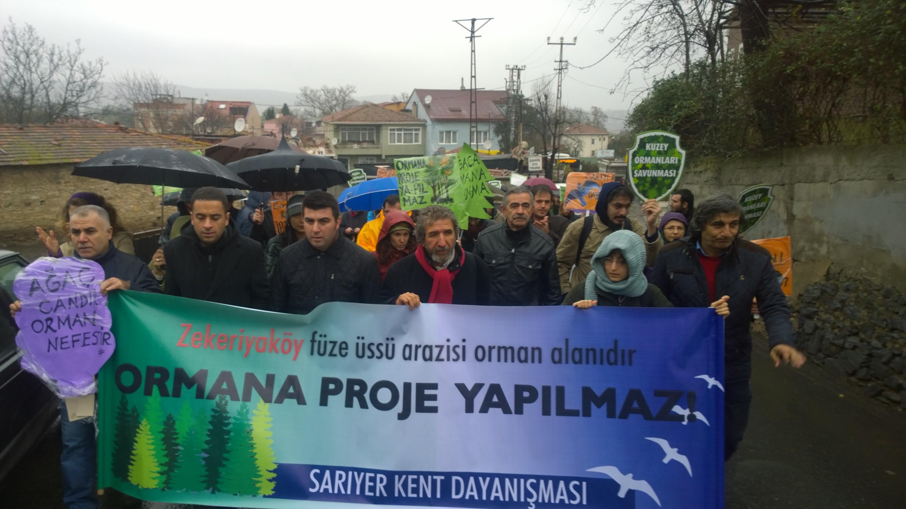Ormana proje yapılmaz! Zekeriyaköy'de talana açılan füze üssü eylemi ardından