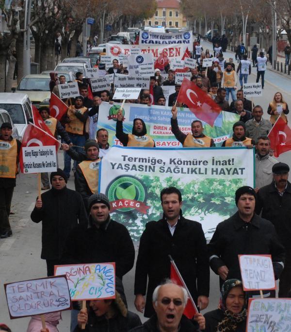 Karaman'da termik santrale tepki için yürüdüler