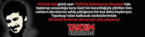 Taksim Dayanışması: 20 Ocak 19.00'da Galatasaray'dayız!