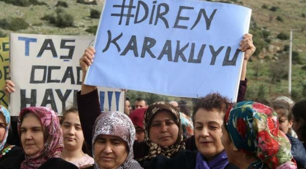 """Menderes'te köylüler taş ocağına karşı eylemde: """"Ferman padişahınsa dağlar bizim"""""""