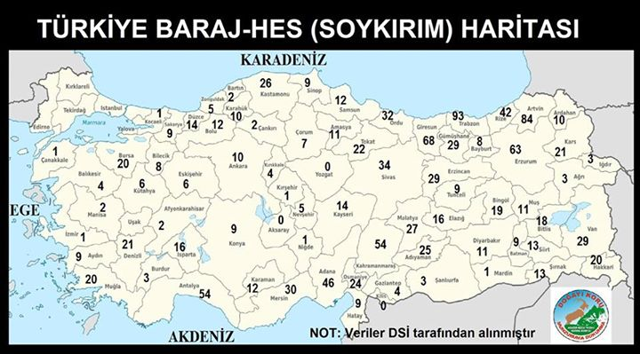 Anadolu'nun İl İl Baraj ve HES Soykırım Haritası