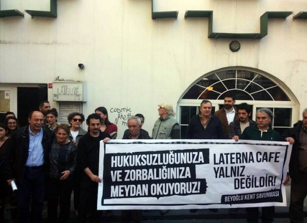 Laterne Cafe'ye Beyoğlu esnafı sahip çıktı: Dükkan dükkan koruyacağız