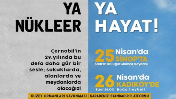 Nükleere karşı, 25 Nisan Sinop'ta, 26 Nisan'da Kadıköy'deyiz