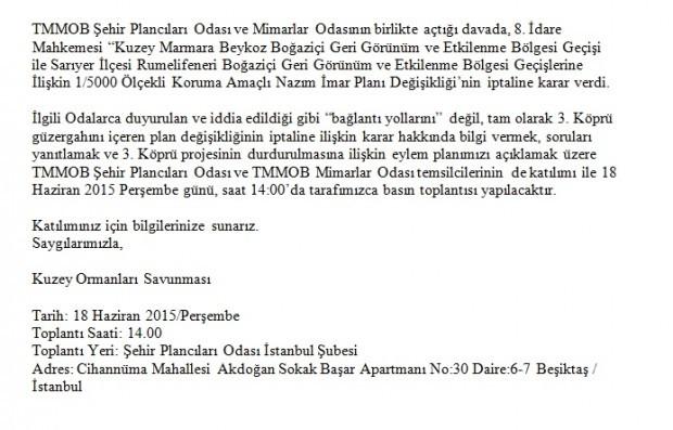 3. Köprü Boğaz Geçiş Güzergâhı Mahkeme Kararına ilişkin Basın Toplantısına çağrı