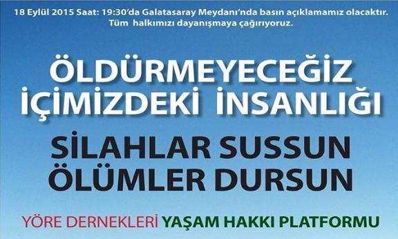 18 Eylül Cuma 19.30 Galatasaray'da : Savaşa hayır, barış hemen şimdi!