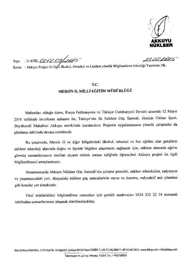 """Mersin'de Valilik imzalı """"Nükleer iyidir"""" eğitimleri"""