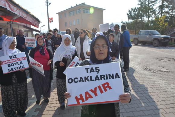 Harmanköy Halkı taş ocaklarına karşı eylem yaptı