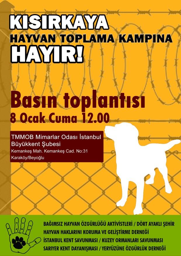 Kısırkaya hayvan toplama kampına karşı basın açıklaması