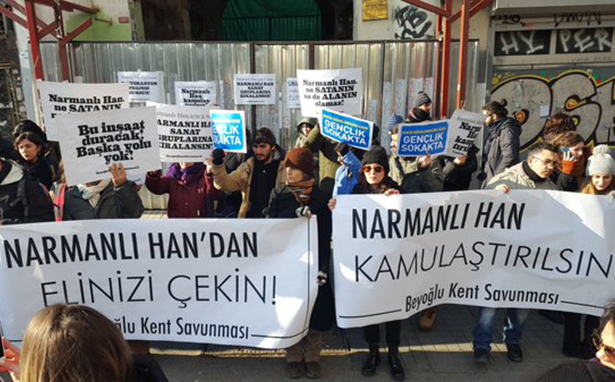 Kent savunucularından Narmanlı Han eylemi: İnşaat durdurulsun, han kamuya açılsın