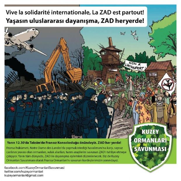 Fransa'daki ZAD'cı dostlarımızla dayanışma için 27 Şubat Cumartesi, Fransız Konsolosluğu'nun önündeyiz