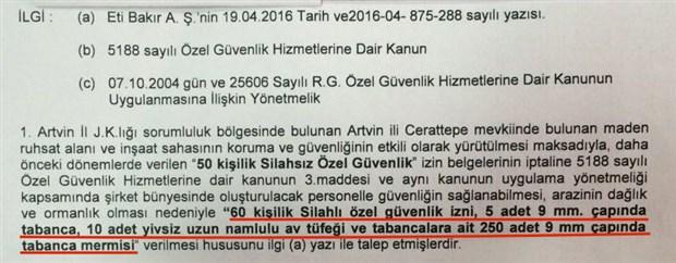 Cengiz'in özel güvenliği Cerattepe'de silah taşıyacak