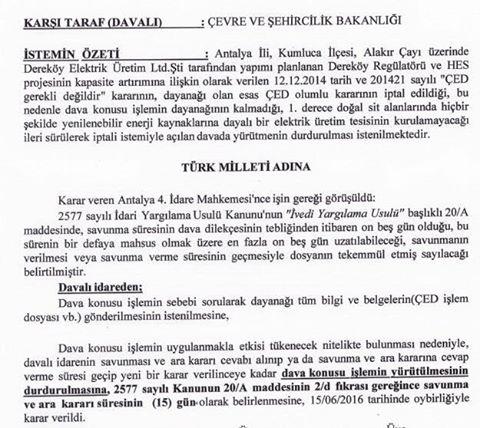Alakır'dan iyi haber: Mahkeme, Alakır'a HES projesine acil durdurma kararı verdi
