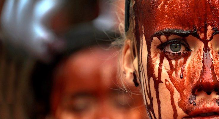 İspanya'da hayvan hakları savunucuları, boğa koşusu festivalini 'kanla' protesto etti