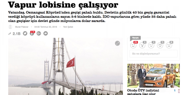 """Biri Yeni Şafak'ı durdursun: Osman Gazi Köprüsü'nün 60 milyon zarar etmesinin sebebi 'Vapur Lobisi""""ymiş"""