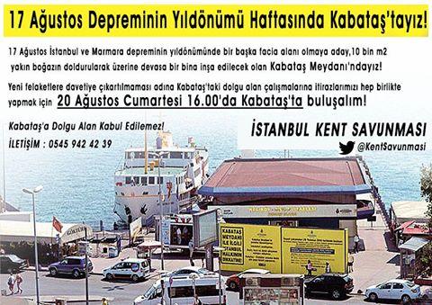 İKS: 17 Ağustos Marmara Depreminin Yıldönümü Haftasında Kabataş'tayız!