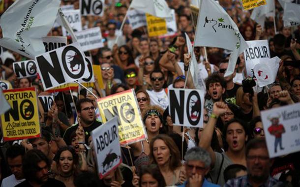 Madrid'de binlerce kişi boğa güreşine karşı sokakta: Bu bizim kültürümüz değil