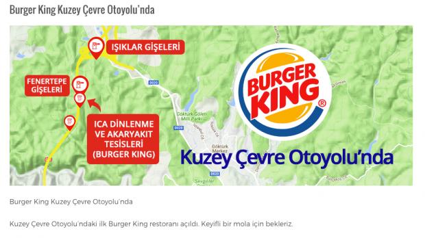 Ve Burger King Kuzey Ormanları'nda! Tabii ki Türkiye gelişsin serpilsin diye…