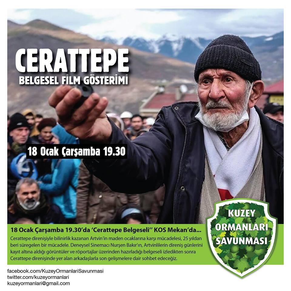 Cerattepe belgeseli, 18 Ocak Çarşamba günü, 19.30'da KOS Mekan'da gösterilecek