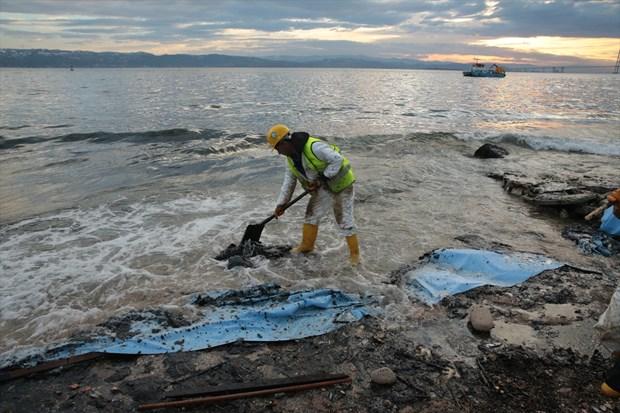 İzmit Körfezi'nde kara tanklarından denize sızan yakıtın dışında, gemi kaynaklı atıklar da bulundu