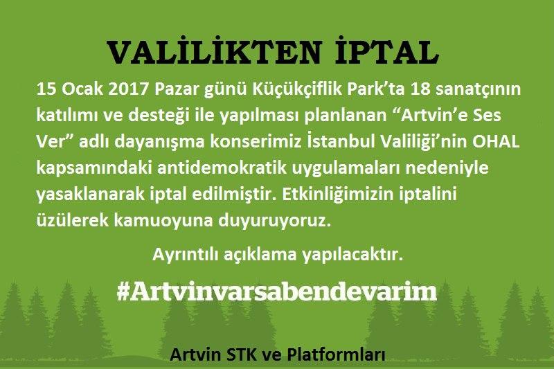 İstanbul Valiliği'nden OHAL fırsatçılığı: Cerattepe konseri yasaklandı!