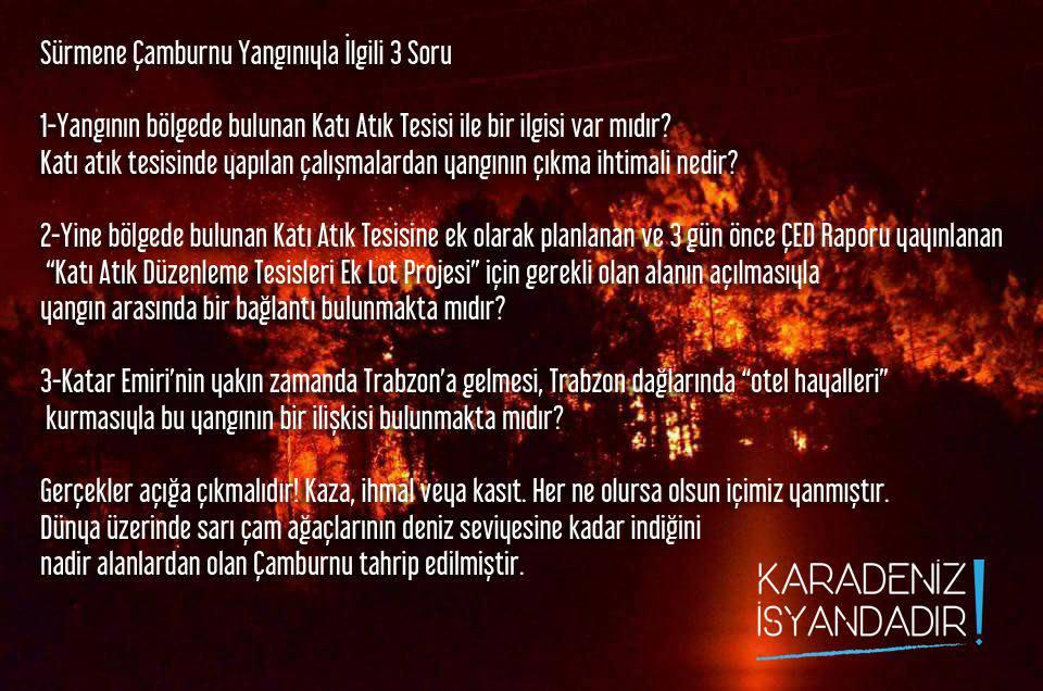 Karadeniz İsyandadır'dan Sürmene yangını ile ilgili üç soru