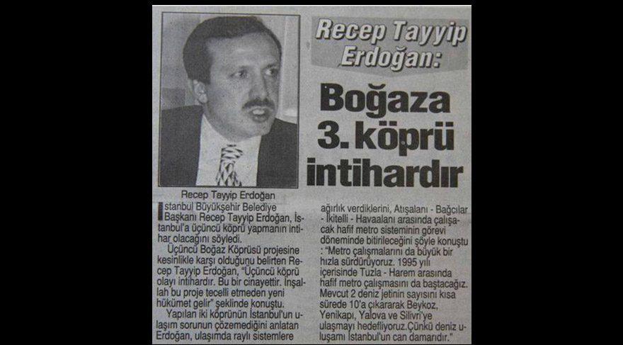 """Erdoğan'ın Çanakkale Köprüsü sözleri akıllara 1995 yılını getirdi: """"Boğaz'a 3. Köprü cinayettir"""""""