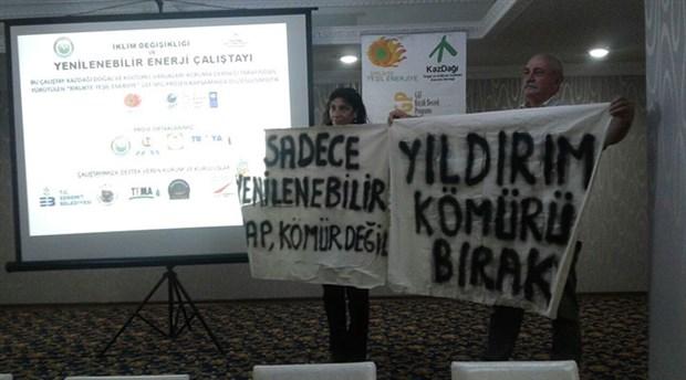 Kazdağları'na kömürlü termik santral projesi peşindeki Yıldırım Holding temsilcisi çalıştayı terk etmek zorunda kaldı!