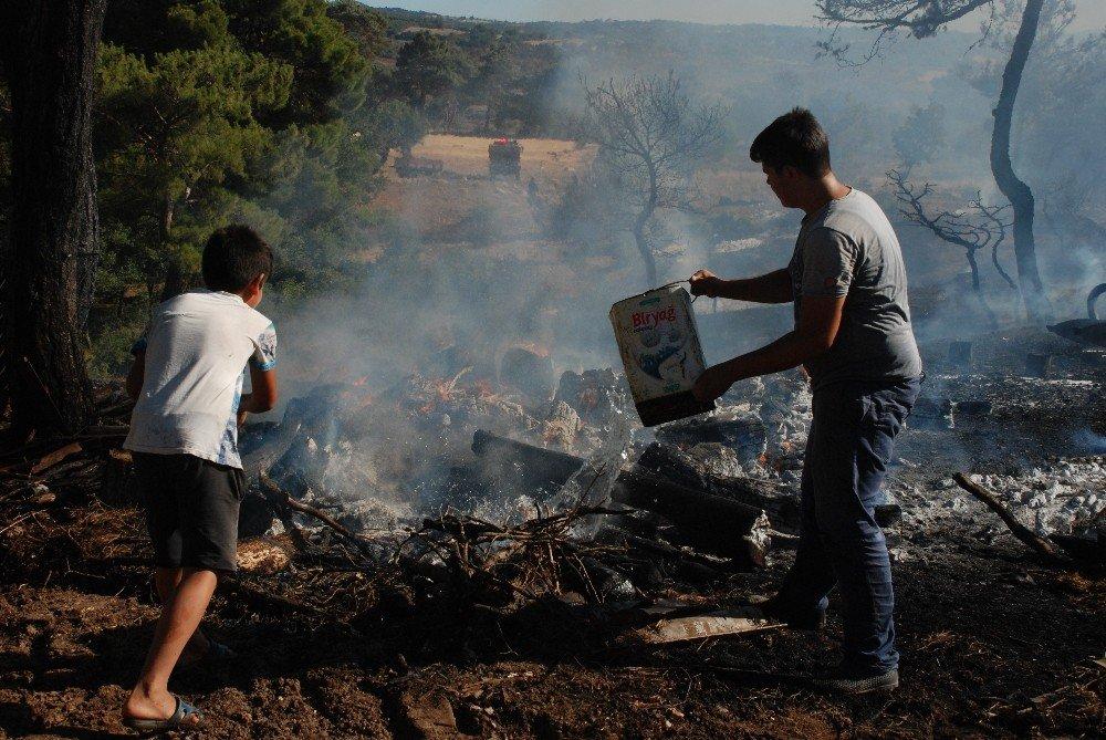 Çanakkale'de başlayan yangın köylülerin de desteğiyle yayılmadan söndürüldü