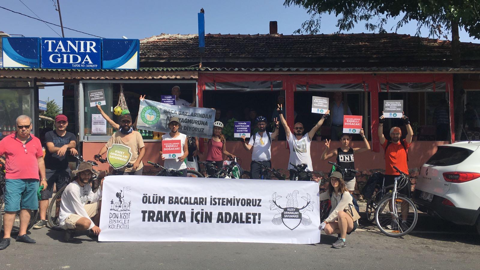 Kuzey Ormanları'nı savunmak içinTrakya'ya pedallayanlar, ölüm bacaları istemeyen Trakya köylüleri ile buluştu!