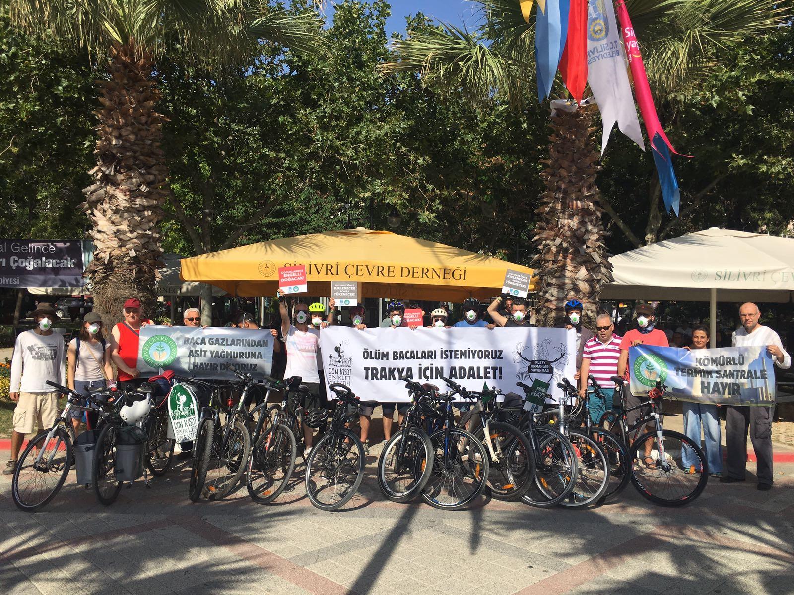 Ölüm bacalarına karşı Trakya'ya pedallayanlar köylülerle buluştu, Silivri'de maskeli sürüş gerçekleştirdi!
