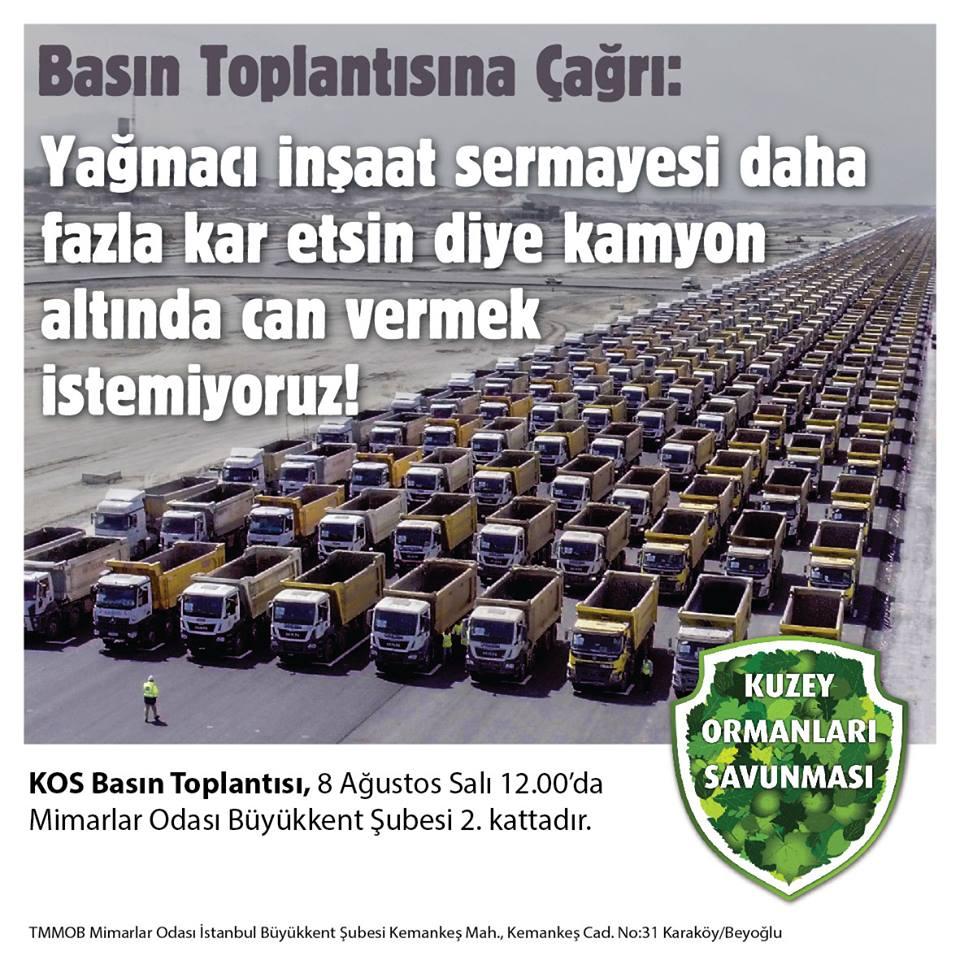 Kuzey Ormanları Savunması, hafriyat kamyonlarıyla ilgili basın açıklamasına çağırıyor – 8 Ağustos Salı