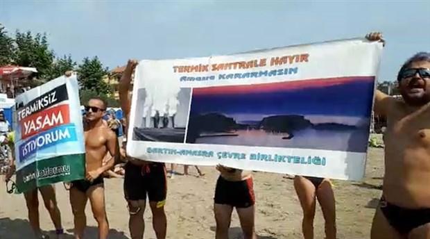 Yüzme maratonu öncesi termik protestosu