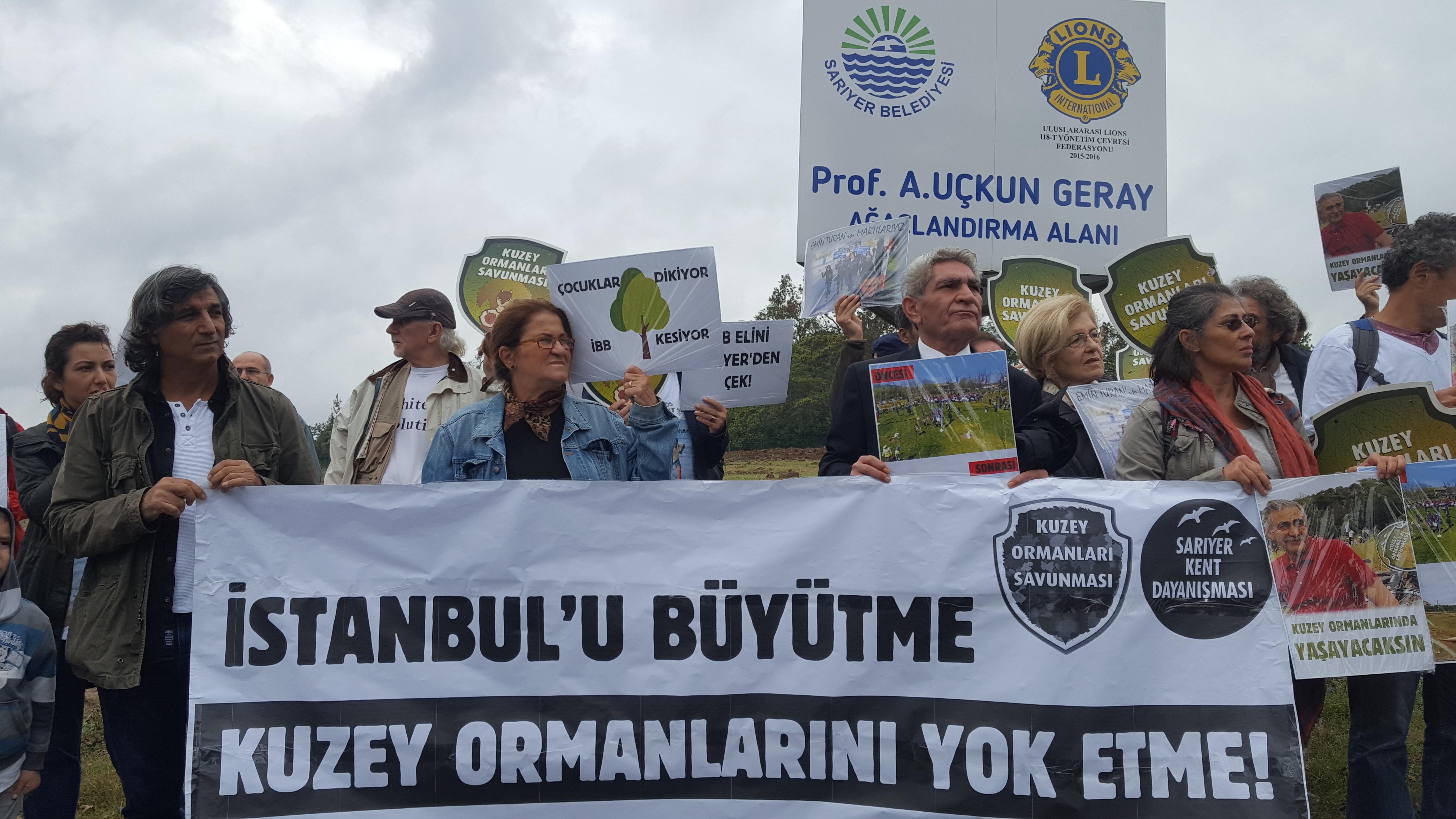 """Uskumruköy'deki ağaç kesimlerine karşı """"Emin Turan'ın martılarıyız"""""""