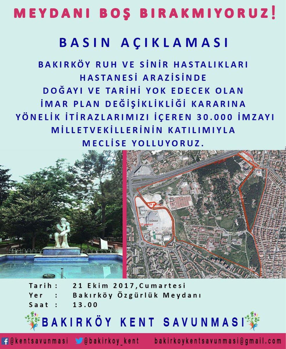 Bakırköy Kent Savunması 21 Ekim Cumartesi 13.00'da Özgürlük Meydanı'na çağırıyor