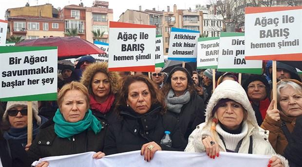 Atikhisar'daki ağaç kesimleri protesto edildi: Danıştay kararına uyun