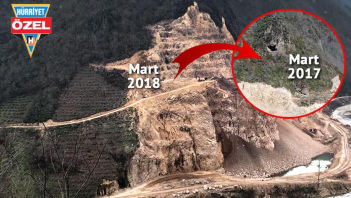 Ordu'da taş ocağı mahkeme kararına rağmen tarihi kaya mezarlarını yok etti, yetkili kurumlar seyretti!