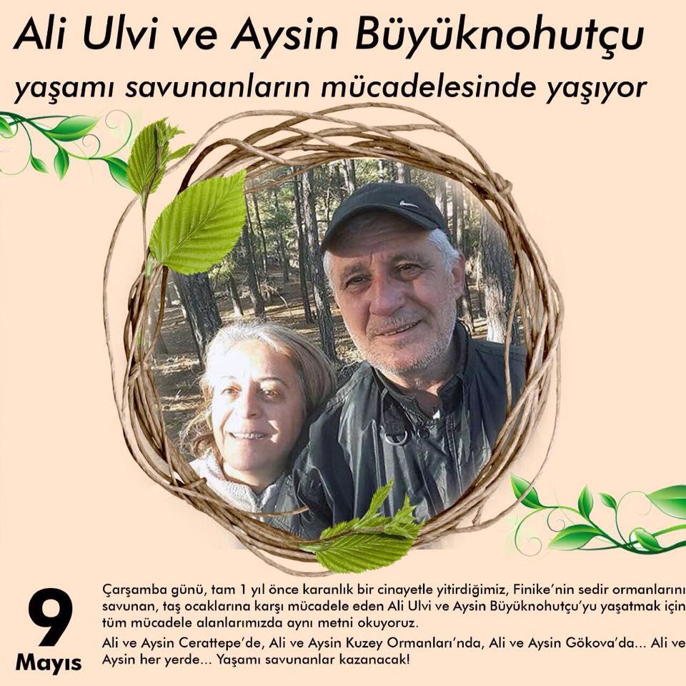 Ali Ulvi ve Aysin Büyüknohutçu çiftini Çarşamba 19.00'da Fatih Ormanı'nda anıyoruz