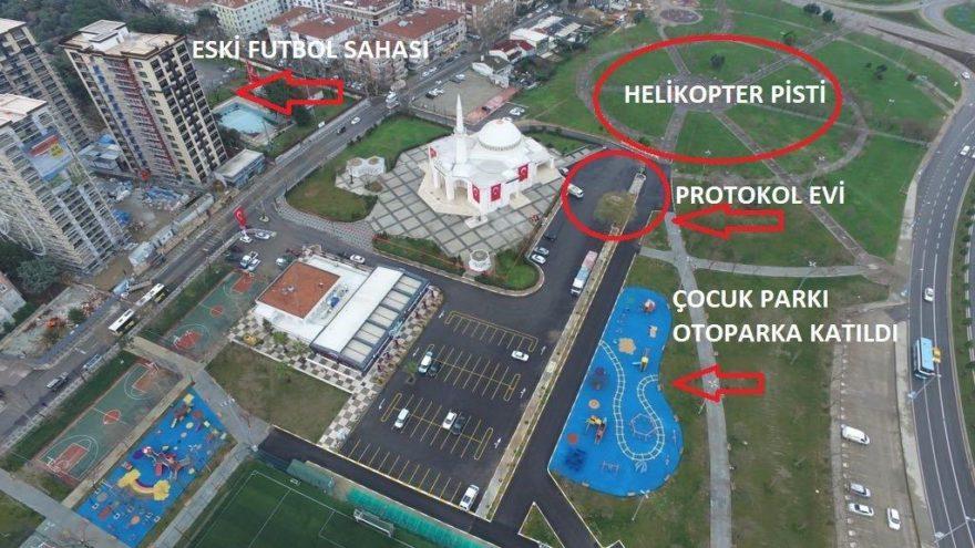 Protokol için çocuk parkı helikopter pisti oldu