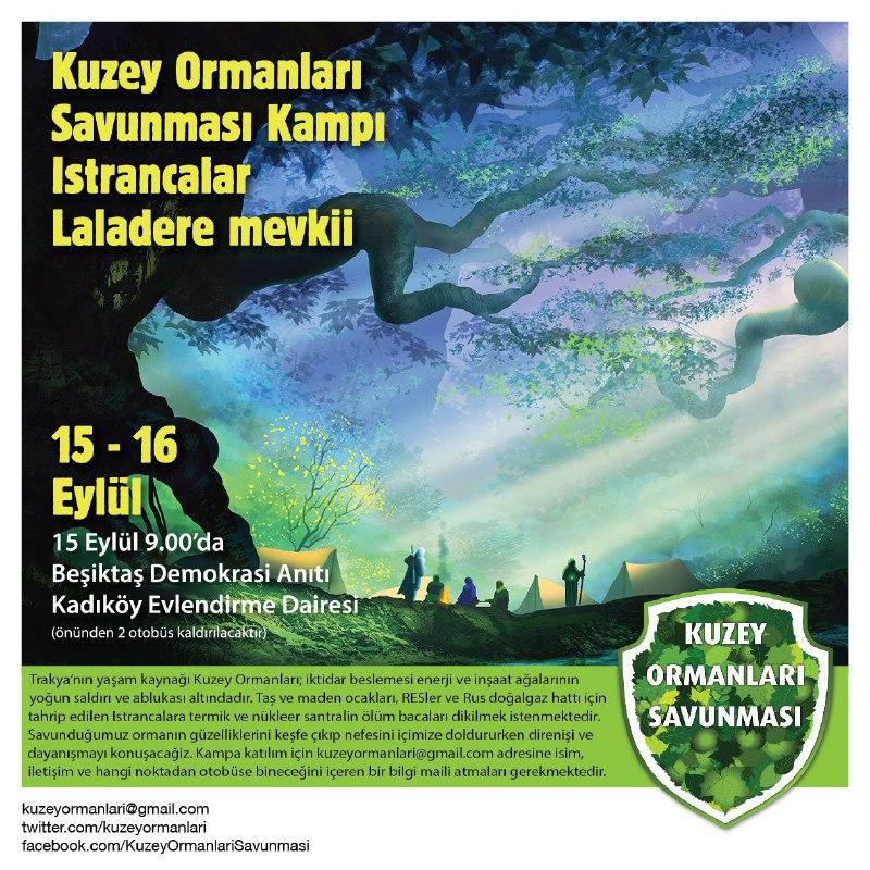 Kuzey Ormanları Savunması ve Don Kişot Bisiklet Kolektifi, 15 – 16 Eylül'de Kuzey Ormanları kampına çağırıyor