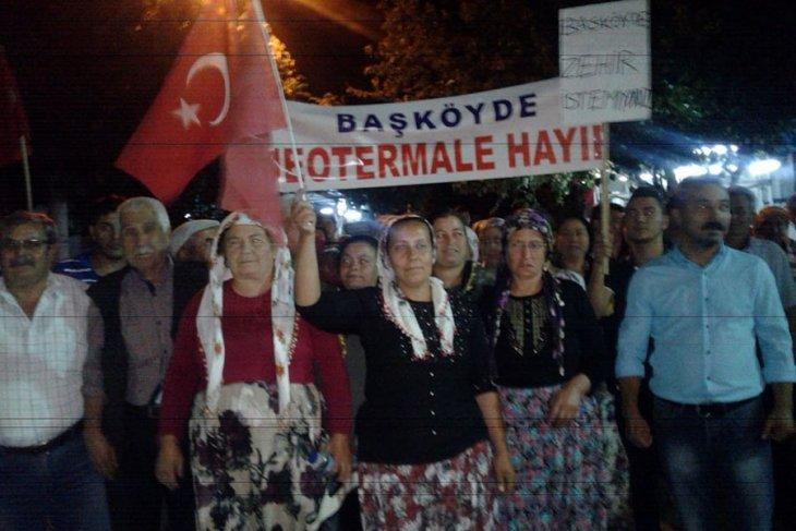 Aydın'da Kızılcaköylüler jeotermal santralına karşı nöbete başladı