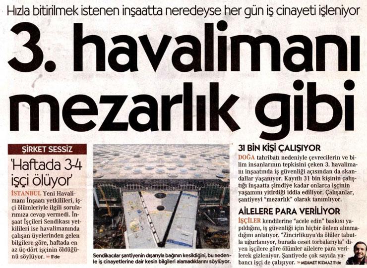 3. Havalimanı'nda ölen işçi sayısı bakana göre 30, İş Sağlığı ve İş Güvenliği Meclisi'ne göre 38