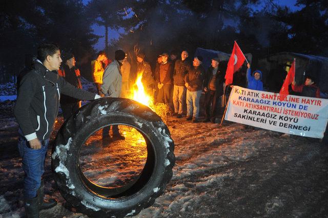 Biyokütle enerji santraline karşı Karaağızlıların nöbeti 193'üncü gününde kar altında sürüyor