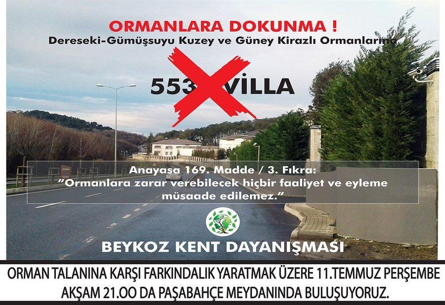 Beykoz'da orman talanına karşı 11 Temmuz Perşembe 21.00 Paşabahçe meydanına çağrı